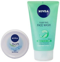 Nivea Soft Light Moisturising Cream, 200ml with Nivea Purifying Facewash... - $17.81