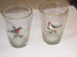 "Set of 2 vintage Clear glass Vases With Hand Painted Birds. 8"" Tall - $17.81"