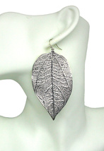Glamorous large silver curve textured leaf pierced earrings fashion part... - $24.64 CAD