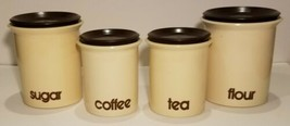 Vintage Nesting Kitchen Canisters Set of Four With Lids Flour Sugar Coff... - $63.54
