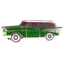Chevy 1957 Station Wagon Green Car Emblem Pin Pinback - $7.91