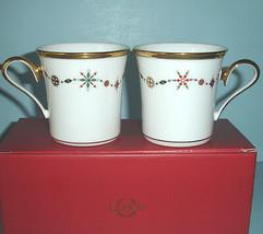 Lenox Eternal White Accent Mugs Pair Christmas Holiday Gem Motif NEW - $56.90