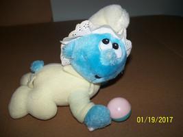 vintage baby plush smurf holding plastic infant rattle peyo 1983 applause - $59.40