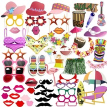 75pcs Luau Hawaiian Photo Booth Props Kit Selfie Props for Holiday - $11.34