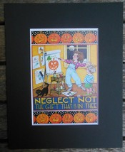 "Mary Engelbreit Print Matted 8 x 10"" ""Neglect Not the Gift"" Artist Hallo... - $16.40"