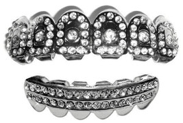 Silver Mouth Teeth Grillz Upper & Lower Set - Crown of Bling - $14.01