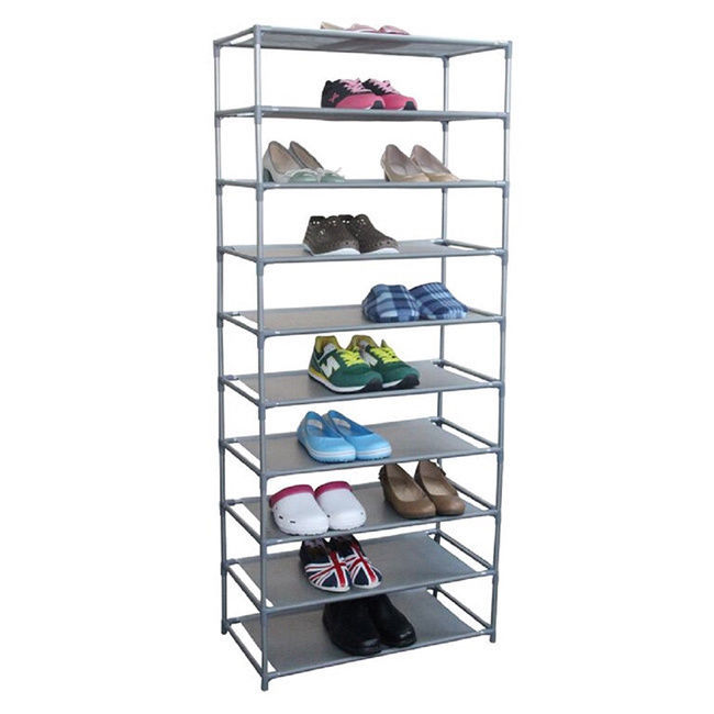 Free Standing Shoes Organizer 10 Tier Footwear Rack Adjustable Fabric Shelves
