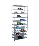 Free Standing Shoes Organizer 10 Tier Footwear Rack Adjustable Fabric Sh... - £33.28 GBP