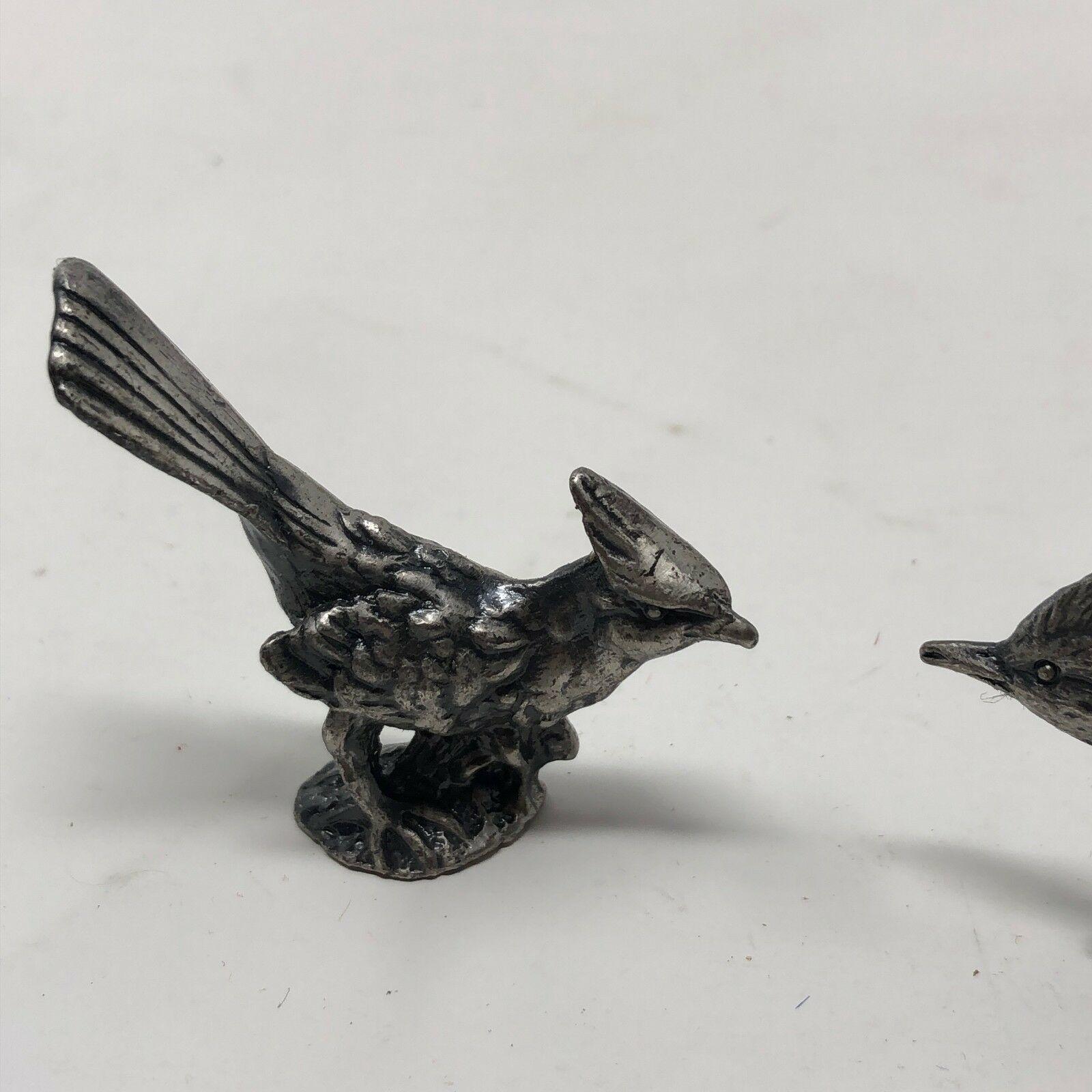 2 vintage pewter bird figurines image 4