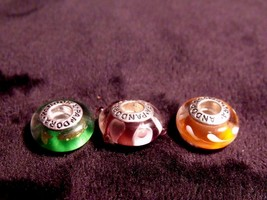 VINTAGE SET OF (3) PANDORA ALE STERLING GLASS BEAD BRACELET CHARMS - $29.70