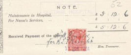 Moffat Cottage Hospital 1934 Hosp Maintenance Nurses Help Stamp Receipt ... - $7.59