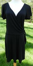 Bcbg Max Azria Black Ss Faux Wrap Dress Slinky V Neck Gold Buckle At Waist M Nwot - $54.91