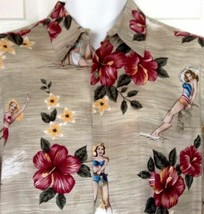 Campia Moda Hawaiian Aloha Shirt Large Pin Up Girls Bathing Beauties Hib... - $34.60