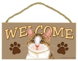 """5"""" x 10"""" Wood Welcome Sign - Tan & White Kitty Cat - $12.86"""