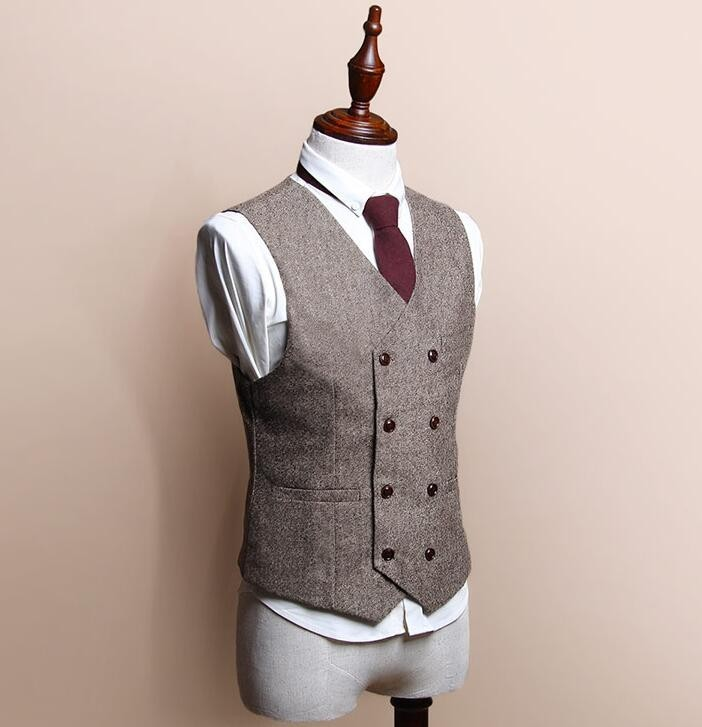 Men British Style Slim Woollen Double Breasted Waistcoat Suit Vest for sale  USA