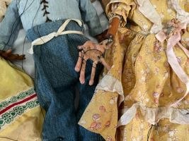 """Lot (10) Antique Handmade Marionette Doll Wood Resin 12.5"""" to 20"""" Man Woman image 5"""