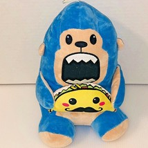 "Blue Monkey Plush Eating Taco with Mustache Peek-A-Boo Toys 11"" Stuffed... - $15.83"