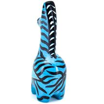 Crafts Caravan Hand Carved Soapstone Striped Blue Giraffe Figurine Made Kenya image 4