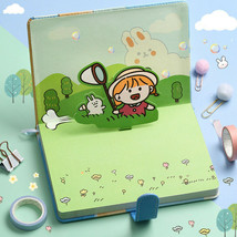 Cute Cartoon Leather Cover Journal Notebook Illustrated Paper Diary Planner - $22.99