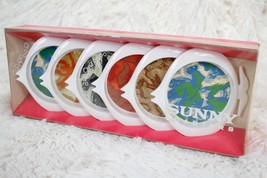 Vintage Sunny Drink Coasters Fish-Shaped Set Of 6 Gessner Products 1960'... - $38.61
