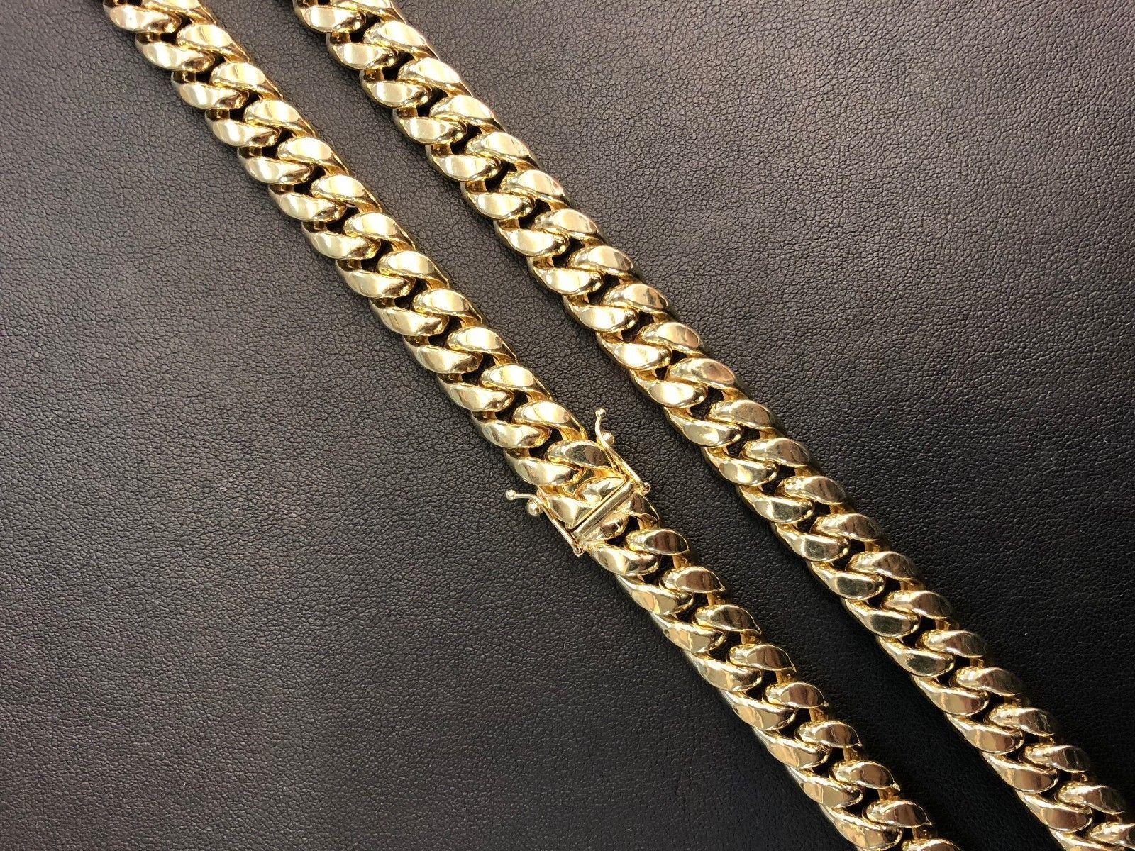 10k Oro Amarillo Hueco 9.5mm Miami Cubano Cadena de Eslabones 71.1cm