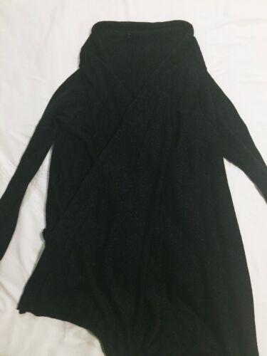 Forever 21 Black Gold Glitter Open Wrap Shawl Cardigan Sweater One Size Metallic