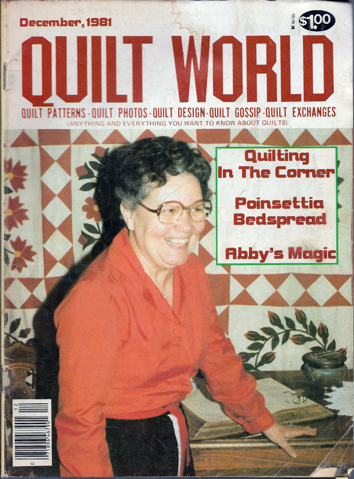 Primary image for Quilt World Magazime December 1981 Poinsettia Bedspread