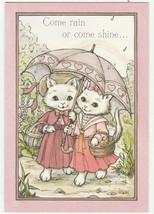 Vintage Valentine Card Dressed Cats Under Pink Umbrella 1970's Hallmark ... - $7.91