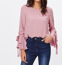 Pearl Embellished Bow Tied Bell Cuff Flounce Sleeve Pink Elegant Blouse Top - $35.09