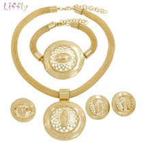 Ethiopian Jewelry Sets for Women Nigerian Bridal Wedding Gold Earrings R... - $38.68