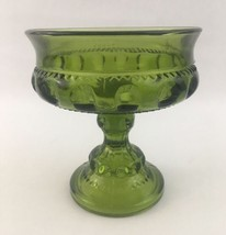 Vtg Indiana Glass Green Kings Crown Footed Pedestal Compote Dish Bowl - $8.59