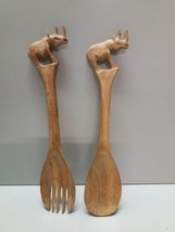 Vintage Hand Carved Wood FORK & SPOON SALAD UTENSILS Rhinoceros Handles ... - $15.83