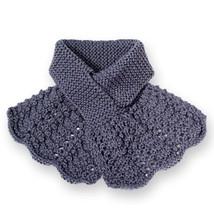 Keyhole Scarf, Women's Knitted Purple Flouncy Ascot - $35.00