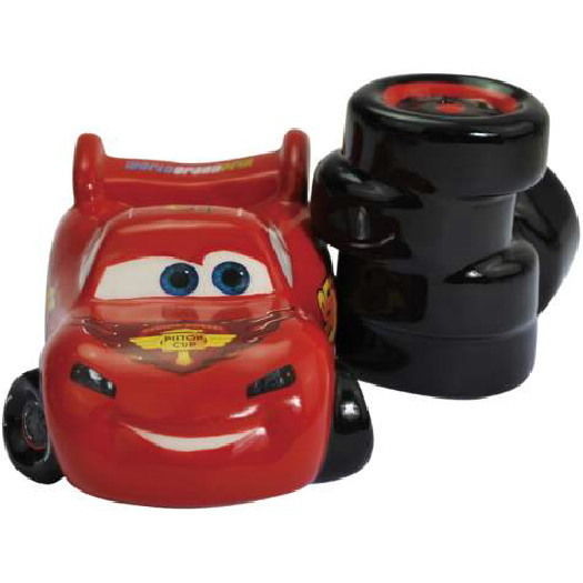 Disney's Cars Lightning McQueen & Tires Ceramic Salt and Pepper Shakers Set NEW