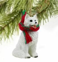 American Eskimo Dog Christmas Ornament Holiday Xmas Figurine Scarf Gift - $10.99