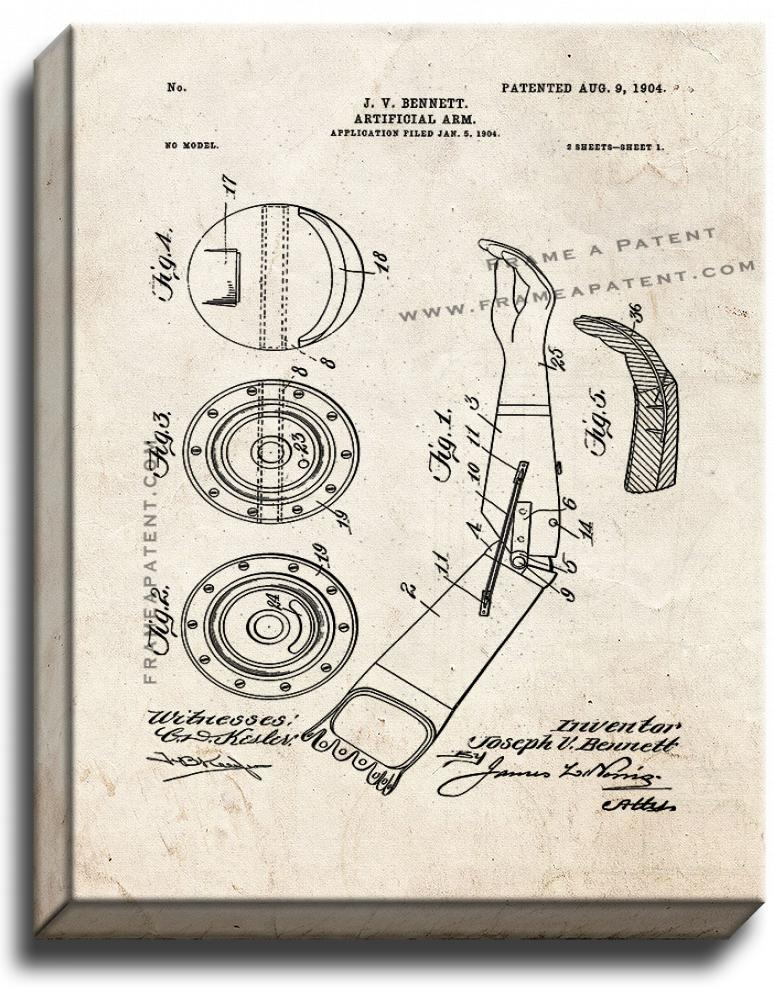 Primary image for Artificial Arm Patent Print Old Look on Canvas