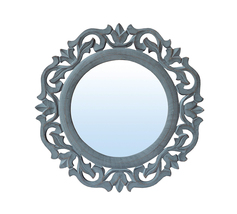 """Decorative & Hand Carved Round Wall Mirror in Shabby Gray Finish, Size : 14""""x14"""" - $39.71"""