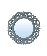 Decorative & Hand Carved Round Wall Mirror in Shabby Gray Finish, Size :... - $39.71