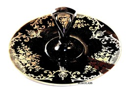 Lotus Lola Silver Overlay Westmoreland Black Glass Center Handle Server ... - $58.99