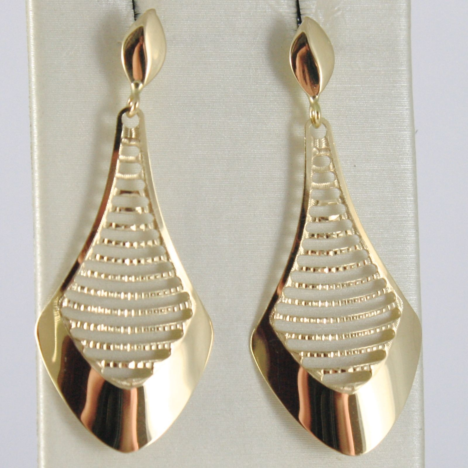 BOUCLES D'OREILLES OR JAUNE 750 18K PENDENTIFS GOUTTE BRODÉ 4 CM, MADE IN ITALY