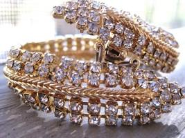 Golden Bracelet & Earring Set Rows of Clear Sparkling Rhinestones FREE SHIP - $15.56