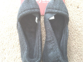 NWT Dearfoams Perforated Microsuede Espadrille Womens Slippers purple or black  - $9.23