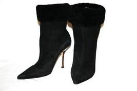 "JIMMY CHOO 4"" Heel Black Suede Fur Mid-Calf Ankle Boots Booties Size 38 ... - $329.00"