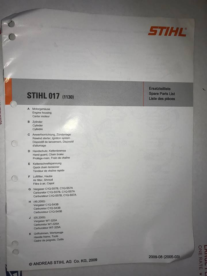 017 Genuine Stihl ChainSaw Parts Manual and 50 similar items