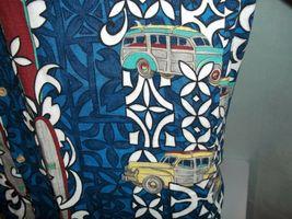 RJC Hawaiian Barkcloth Shirt Mens Large Surfboard Woody Vintage Cars Rockabilly image 4