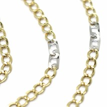 18K YELLOW WHITE GOLD CHAIN 3 MM, 19.7 INCHES, ALTERNATE GOURMETTE AND SQUARE image 2