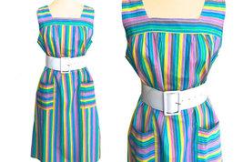60s/70s French Vintage Candy Pastel Stripe Cotton Sun Dress, Blue, Green, Pink,  image 2