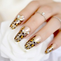 Leopard w/ glitter & pearls full cover 24 pc glue on oval nails set long length - $9.99