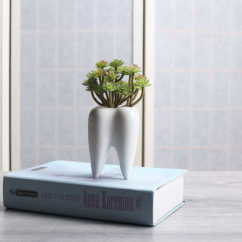 Tooth Shape White Ceramic Flower Pot Modern and similar items