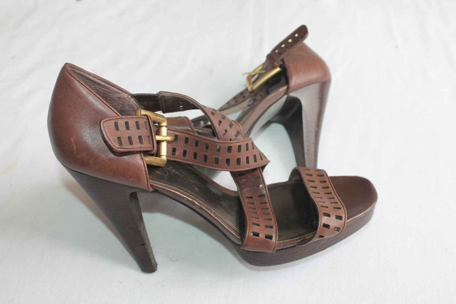 Primary image for Jessica Simpson Brown Leather Strappy Open Toe High Heels Size 9 B Shoes Derry